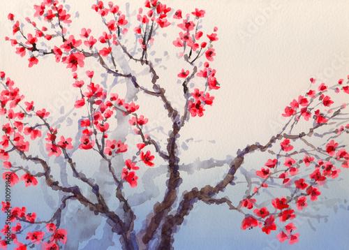 akwarela-krajobraz-w-chinskim-stylu-czerwone-kwiaty