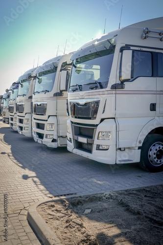 fototapeta na lodówkę LKW-Spedycja, Weisse LKW-Zugmaschinen in einer Reihe