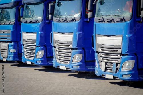 obraz PCV LKW-Spedition, abgestellte, Blaue Laster - Frontansicht