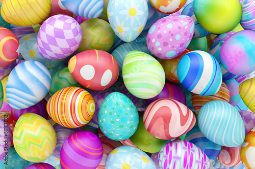 Photo  Pile of colorful Easter eggs