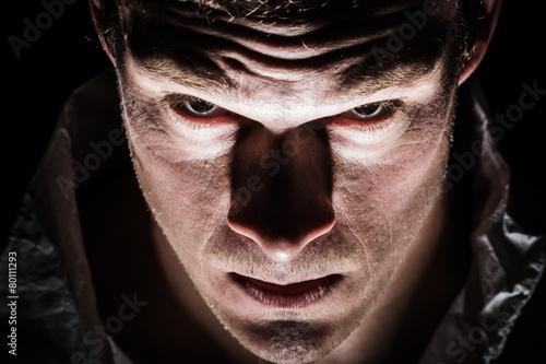 Fototapeta Obscure Freaky Psycho Man Closeup