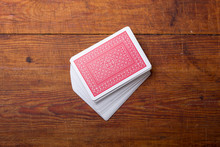 Palying Cards On Wooden Table