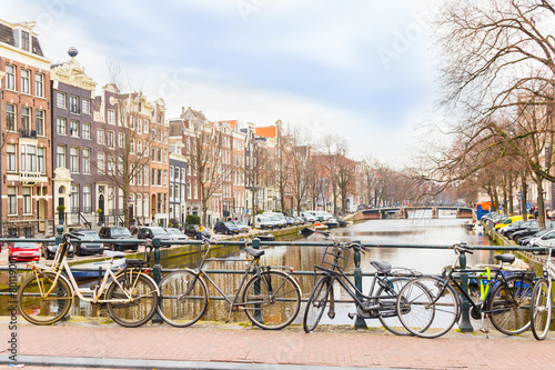 Amsterdam canal and bicycles #80119001