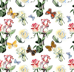 Seamless pattern from roses and butterflies.