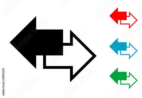 Fényképezés  Pictograma derecha e izquierda en varios colores