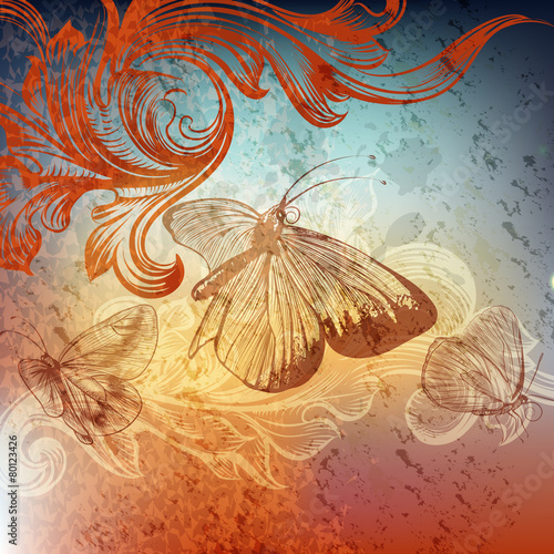Cadres-photo bureau Papillons dans Grunge Grunge design with butterflies