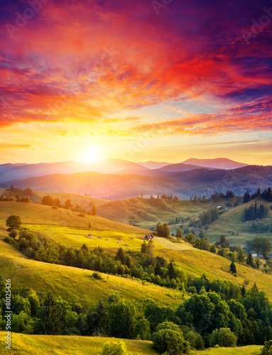 Wall mural - sunny mountain landscape