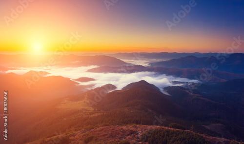 Foto op Aluminium Bergen sunny mountain landscape