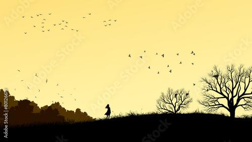 Valokuva Horizontal illustration of girl in field windswept