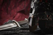 Medieval Armour, Helmet And Sword