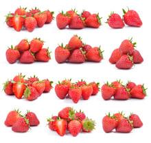 Set Of Strawberry On White Background
