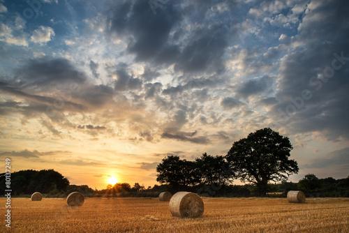Papiers peints Beige Rural landscape image of Summer sunset over field of hay bales