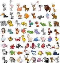 Большой набор мультяшных животных, вектор