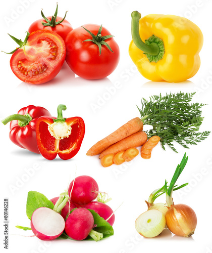 Staande foto Groenten collection of vegetables isolated on the white background