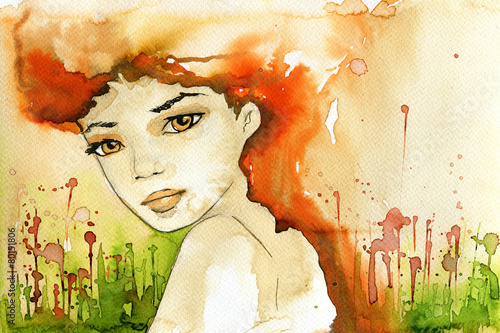 Printed kitchen splashbacks Painterly Inspiration abstract watercolor illustration depicting a portrait of a woman