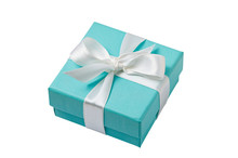 Isolated Turquoise Gift Box On White Background With Path
