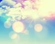 Leinwandbild Motiv Sunny blue sky with retro effect