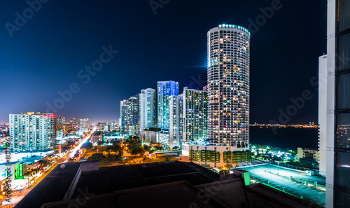 Illuminated City at Night, Miami, Florida, USA