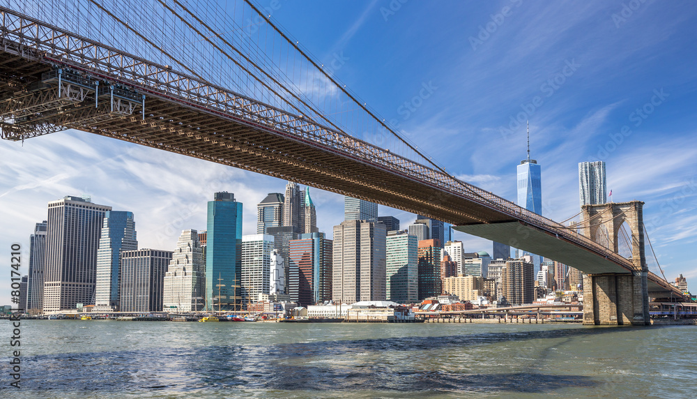 New York City Brooklyn Bridge Manhattan skyline <span>plik: #80174210 | autor: blvdone</span>