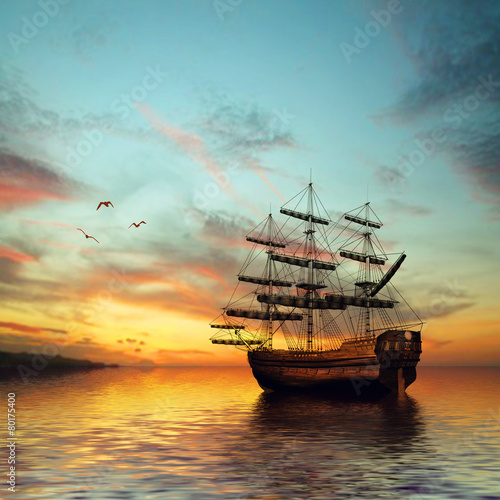 Foto auf AluDibond Sailboat against beautiful sunset landscape