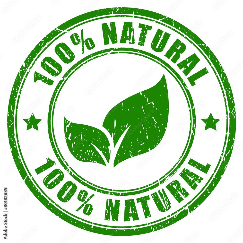 Fototapeta 100 percent natural stamp