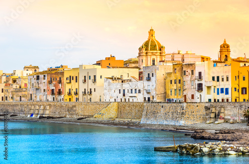 Foto op Canvas Europa Trapani panoramic view of harbor, Sicily, Italy.
