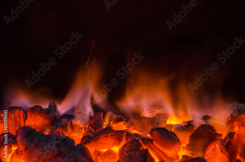 Photo sur Aluminium Feu, Flamme Hot coals in the fire