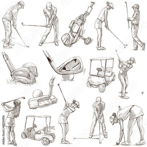 Deurstickers Golf Golf and Golfers - Hand drawn pack