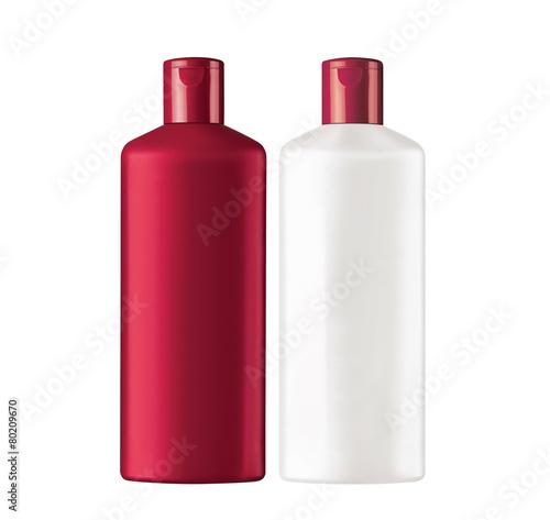 Fotografie, Obraz  Plastic bottles shampoo isolated on white background