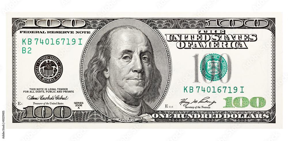 Fototapeta 100 dollar bill, on a white background. The largest denomination