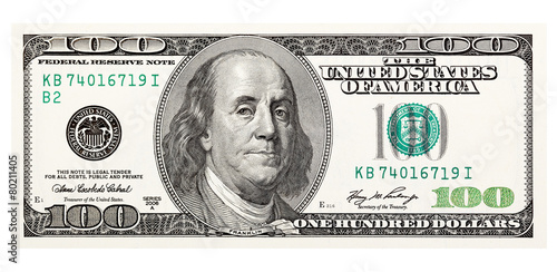 Tela  100 dollar bill, on a white background. The largest denomination