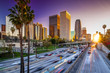 canvas print picture - Los Angeles downtown skyline sunset buildings highway