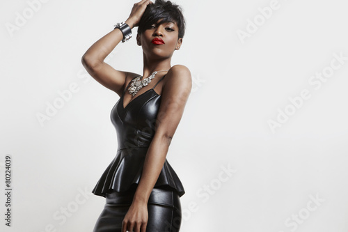 Amazing Sexy Black Woman In A Leather Dress Buy This Stock Photo
