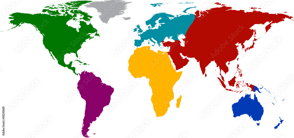 Fototapety, obrazy: World map with colored continents.