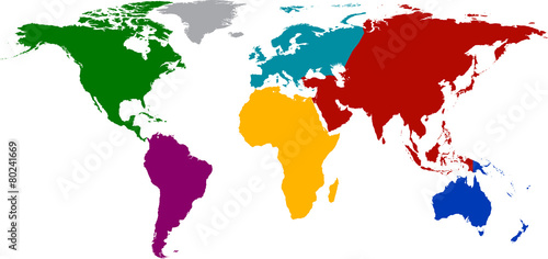 Fotografie, Obraz  World map with colored continents.