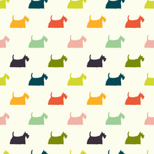 Colorful Dogs Seamless Pattern. Scottish Terrier Silhouettes