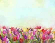 Oil Painting Tulips  Flowers I...