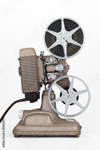 Foto op Plexiglas Retro Side view of Vintage 8 mm Movie Projector with Film Reels.