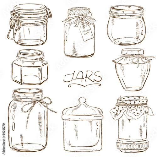 Fotografia, Obraz  Set of isolated mason jars