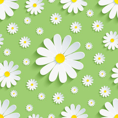 NaklejkaSpring green seamless pattern with white chamomile
