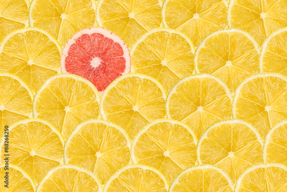 Fototapety, obrazy: One Pink Grapefruit Slice Stand Out Of Yellow Lemon Slices
