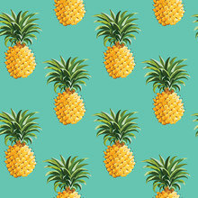 Pineapples Tropical Background - In Vector
