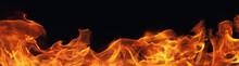 Burning Fire Flame On Black Ba...