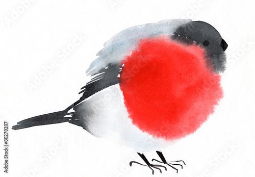 Leinwand Poster watercolor bird bullfinch