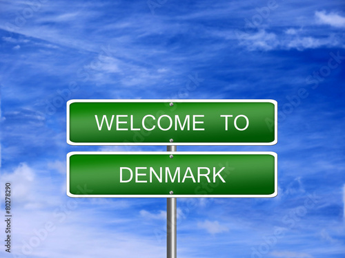 Denmark Welcome Travel Sign Poster