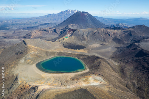 Fotografie, Tablou  Tongariro national park Mountains and Blue Lake