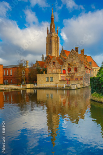 Wall Murals Bridges The picturesque city landscape in Bruges, Belgium