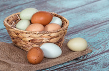 Fresh Chicken Eggs In A Basket