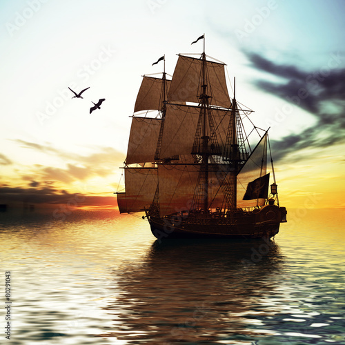 Sailboat against beautiful sunset landscape © F@natka