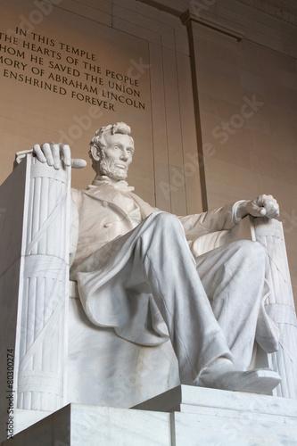 Fotografia  The statue of Abraham Lincoln, Lincoln Memorial, Washington DC.